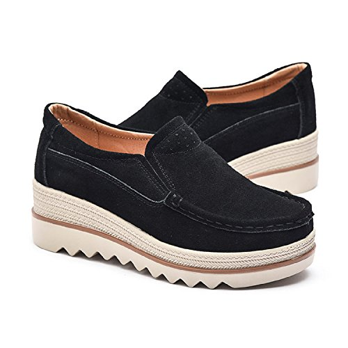 Loafers Comfort Slip Moccasins Heel Women On Black Shoes Platform Top Suede Low 5cm Wedge Wide LILY999 E0XIqE