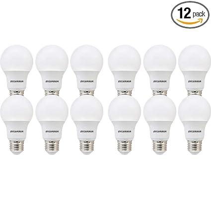 SYLVANIA, 60W Equivalent, LED Light Bulb, A19 Lamp, 12 Pack, Soft ...