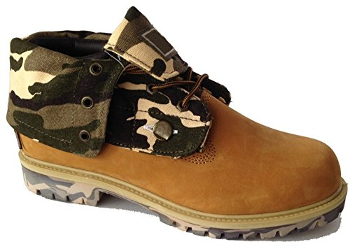 Men's Oil Resistant Leather Removable Roll-Top Boots Wheat and Camouflage - Sizes 6-13 (10.5)