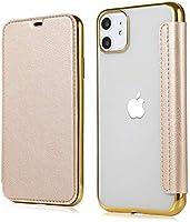 iPhone SE2 ケース 第2世代 iPhone7 ケース iPhone8ケース 手帳型 クリア 高級なPUレザー カード収納 衝撃吸収 ブランド スマホケース (iPhone7/iPhone8/iPhone SE(2020), ゴールド)