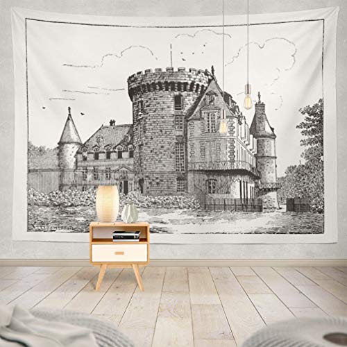 (KJONG Ancient-Castle Decorative Tapestry,Vintage and Castle French Black White Town House 60X80 Inches Wall Hanging Tapestry for Bedroom Living Room)
