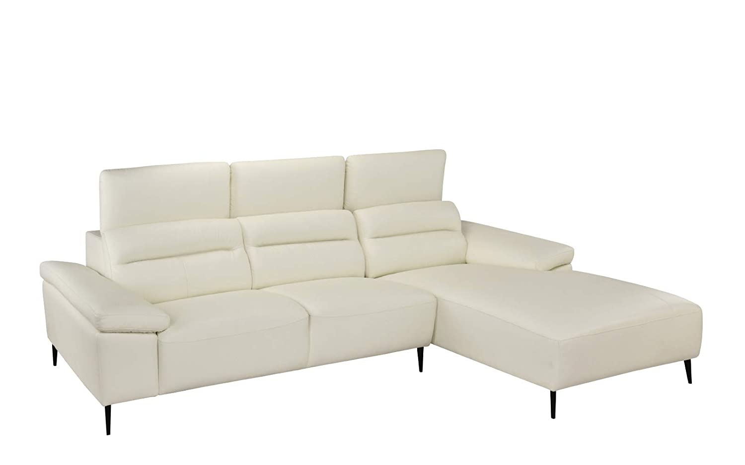 Leather Match Sectional Sofa, L-Shape Couch with Chaise Lounge (Right Chaise, White)