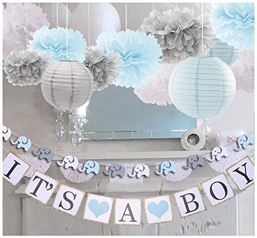 luckylibra Boy Baby Shower Decorations, It is a Boy Banners Elephant Garland and Paper Lantern Paper Flower Pom Poms (Blue White Grey) -