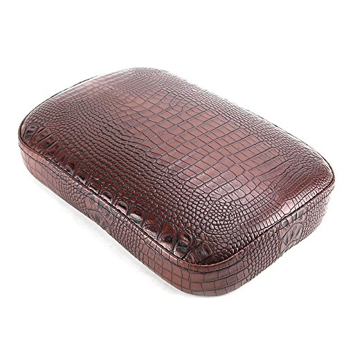 Oumurs Alligator Synthetic Leather Suction Cup Passenger Pillion Pad Seat Rectangle Cushion Pad for Harley Sporster XL 883 1200 Chopper Bobber Dyna Touring (8 Suction Cup Brown) by Oumurs (Image #3)