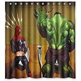 Superhero Hulk in the Toilet Custom Design Shower Curtain Personalized Bath Curtain 66 * 72 Inch