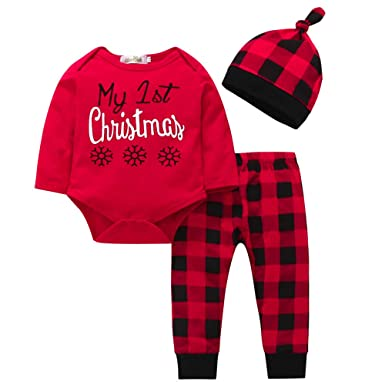 3f1e757a2 Sikye My 1st Christmas Bodysuit Tops Plaid Pants and Cap Infant Baby Girls  Boys Outfits (