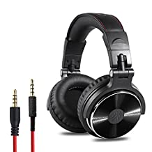 OneOdio Adapter-free Closed Back Over-Ear DJ Stereo Monitor Headphones, Professional Studio Monitor & Mixing, Telescopic Arms with Scale, Newest 50mm Neodymium Drivers- Glossy Finsh (black) (Pro-10)