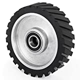 "#8: Happybuy 10x2 Inch Belt Grinder Rubber Wheel Durable Serrated Contact Wheel 6206 Bearings Belt Grinder Wheel for 2x72"" Belt Grinder Sander Dynamically Balanced"