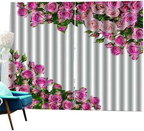 QinKingstore ローズ花柄プリント遮光カーテン用リビングルームベッドルームホームホテル窓カーテン高精度