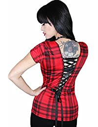 Sexy Plaid Corset Back Pinup Rockabilly Gothic Tank Top