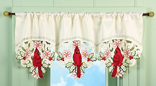 Christmas Embroidered Cardinal Valance Polyester