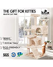 BEASTIE Cat Tree Scratching Post Scratcher Tower Condo House Furniture Wood 132 Beige Colour