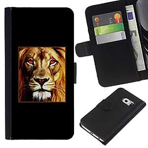 All Phone Most Case / Oferta Especial Cáscara Funda de cuero Monedero Cubierta de proteccion Caso / Wallet Case for Samsung Galaxy S6 EDGE // Lion Poster Fire Red Minimalist Black