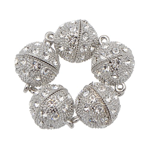 BetterUS 5Pcs Rhinestone Round Ball Magnetic Clasps Crystal Pave Ball Magnetic Beads Clasp For Bracelet Necklace Jewelry (Clasp Pave Ball)
