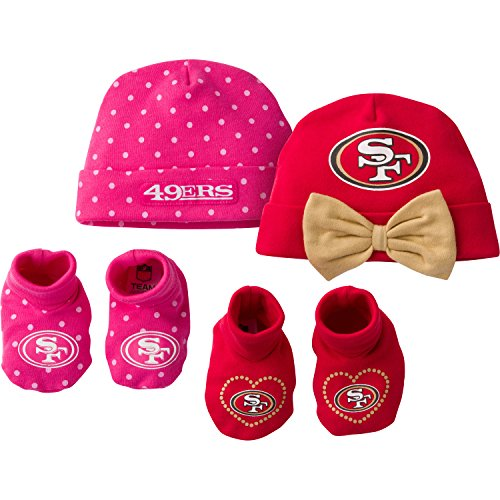 Gerber Childrenswear Dots 4 Pack Cap & Bootie Set, 0 - 6 Months, Pink, San Francisco 49ers