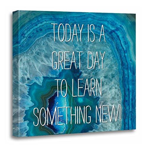 TORASS Canvas Wall Art Print Science Blue Geode Rock Agate Crystal Teacher Artwork for Home Decor 20