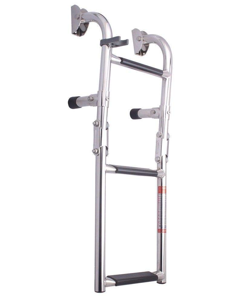 Marinebaby Marine Boat Foldable Stainless Steel 3 Steps Ladders Stern Mount W Rubber Grips, 2+1 Step