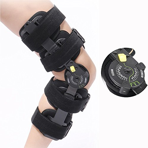 Hinged Knee Brace Support Rom Knee Brace Adjustable Patella Knee Brace Knee Support Medical Knee Brace Stabilizer with FDA Adjustable for Right Leg and Left Leg (about 47-70cm) by TANDCF