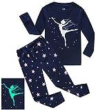#4: Girls Pajamas Girl Dance Glow In The Dark Kids PJS Cotton Toddler Clothes