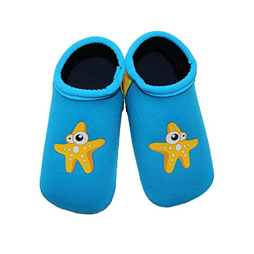 SUIEK Unisex Baby Infant Swim Shoes Water Shoes Beach Shoes (Blue, L (Sole length 5.9 inches, 24-36 Months))