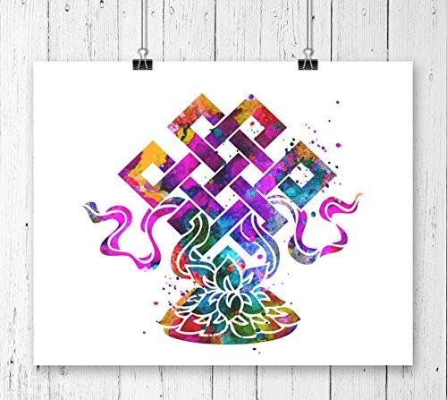 Eternal Knot Lotus Lucky Charm Watercolor Art Print, Wall Art, Poster, Giclee, Home Decor, Buddhist Symbol, Yoga, Zen decor(UNFRAMED)