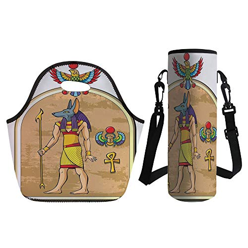 3D Print Neoprene lunch Bag with Kit Neoprene Bottle Cover,Egyptian Decor,Graphic of Anubis of Old Egypt in Papyrus Style Ancient Myth Symbols Heritage,Multi,for Adults (Delta Graphic Kit)