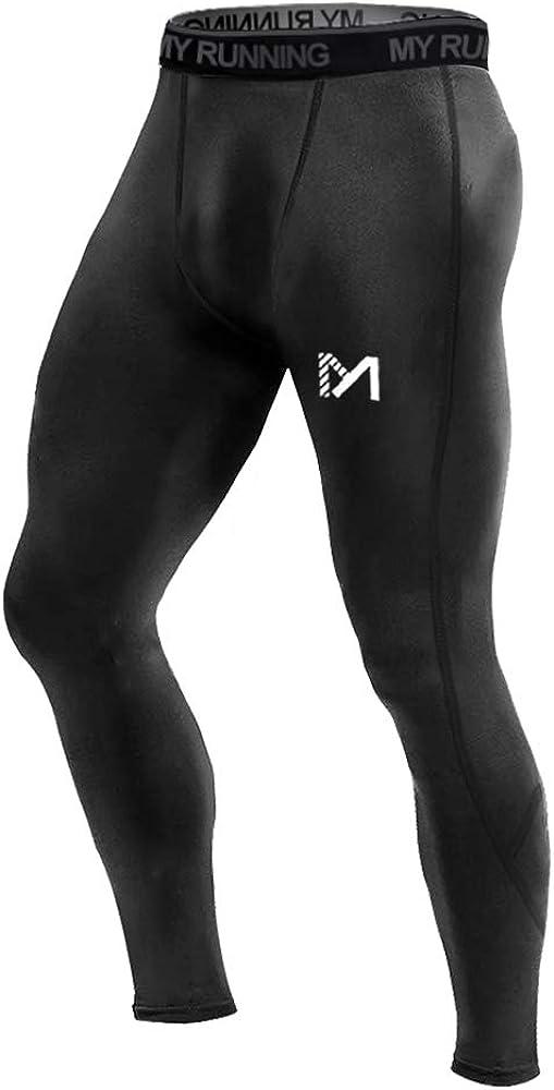 Calzamaglie Sportive Pantaloni Fitness Compressione Baselayer per Jogging Ciclismo Running MEETYOO Leggings Uomo
