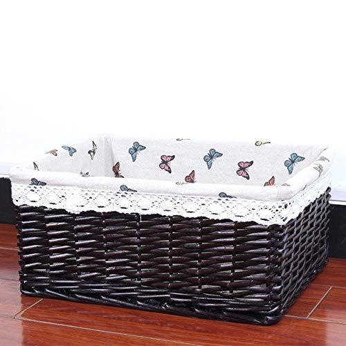 SeedWorld Storage Baskets - Wricker Weaving Storage Basket Rattan Storage Box for Cosmetics Fruit Picnic Basket Book Storage Organizer Handwork 3020cm 1 PCs -
