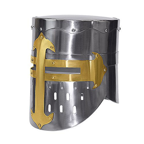 Crusader Or Knight's Helmet Polished Steel W/ Brass - Wearable (Mens Crusader Knight Costume)