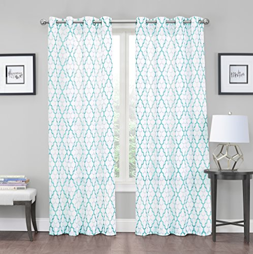 2 Pack: Kendall Luxurious Trellis Crushed Grommet Sheer Voile Curtains By  GoodGram®   Assorted Colors (Aqua)
