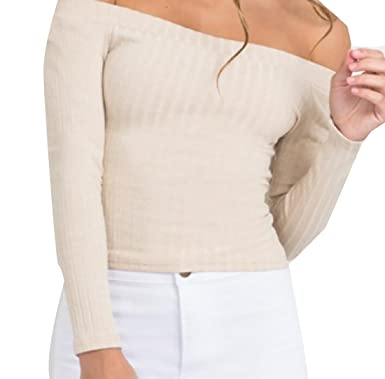 71e9c9b954f7 Pivaconis Women's Strapless Ribbed Knitted Slim Fit Long Sleeve T-Shirt Tops  Beige US XS