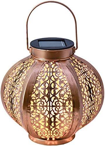 TERESAS COLLECTIONS Farol Solar Farolillos de exterior Lantern Outdoor LED Colgante Lámpara de Metal de Luces de Jardín Lámpara Hexagonal, Adorno de Jardín(10.6