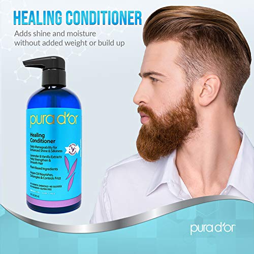 PURA DOR Healing Aloe Vera Conditioner for Dry Damaged Frizzy Hair with Lavender and Vanilla Argan