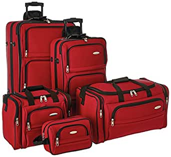 Samsonite Outpost 5 Piece Nested Luggage Set (one size, Bright Red)