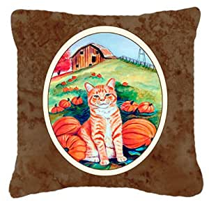 Caroline tesoros del gato en Pumpins Tejido decorativo almohada 7123pw1414, 14hx14W, multicolor