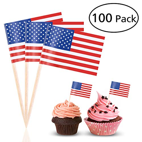 Tinksky US Flag Picks American Flag Food Toothpicks Party Accessory Party Favors, pack of 100 (Flag Party Picks)
