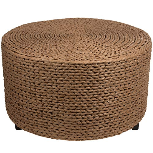 Oriental Furniture Rush Grass Coffee Table/Ottoman - Red Brown