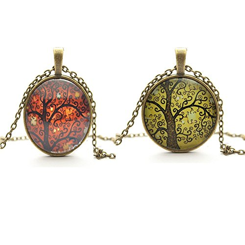 TL Set of 2 Vintage Ladies Necklace the Tree of Life Glass Gem Pendant Long Chain Blessing Necklaces