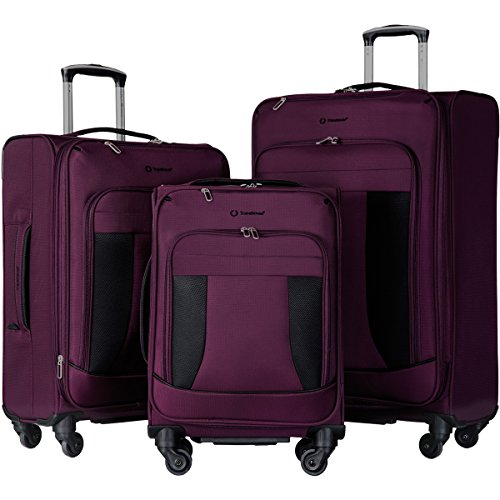 Travelhouse 3 Piece Luggage Set Softshell Deluxe Expandable Spinner Suitcase