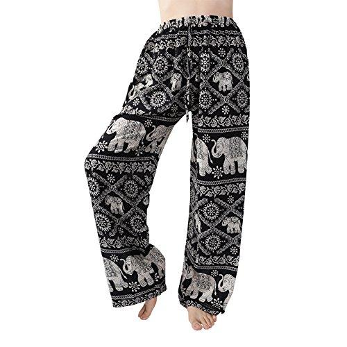 Rita & Risa Women's Elephant Long Loose Pajama PJ Sleep Bottoms Pants Black X-Small / US 0-2 (Halloween Denver Co)