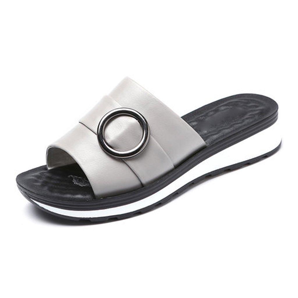 YUBIN Zapatilla Mujer Desgaste Fuera De Cuero Genuino Suave Fondo Plano Antideslizante Sandalias De Mujer Zapatos Cool Transpirable Moda (Color : C, Tamaño : 35) 35|C