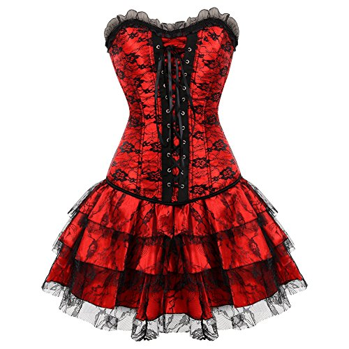 [Frawirshau Women's Corset with skirt Showgirl Clubwear Wedding Top Medium Red] (Moulin Rouge Costumes)