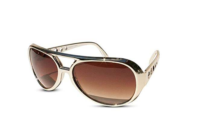 a56c3ed37fd The King of Rock and Roll Elvis Presley Large Las Vegas Costume Sunglasses ( Gold