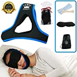 Stop Snoring Chin Strap -(SPECIAL RELIEF BUNDLE) Includes: Anti Bacterial Snoring Prevention Strap + 20 Nasal Strips + Silk Sleep Mask+ Travel Bag. SAY GOODBYE TO SNORING w/ proven Anti Snore devices
