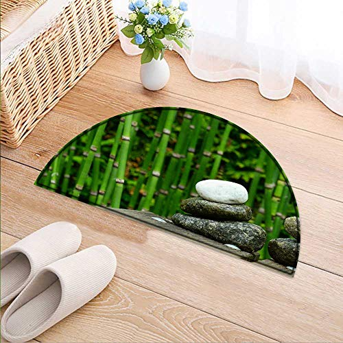 - Semicircle Area Rug A Cobblestone Beside a Bamboo Forest Indoor/Outdoor Semicircle Area Rug W24 x H16 INCH