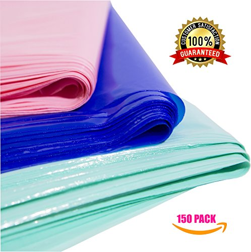 150 9x12 Plastic Merchandise Bags, Retail Shopping Bags with Handle, Gift Bags, Best Colors-Royal Blue, Light Pink and Teal. Small Size. Environmentally Responsible 100% Recyclable. Mr.Lordbag