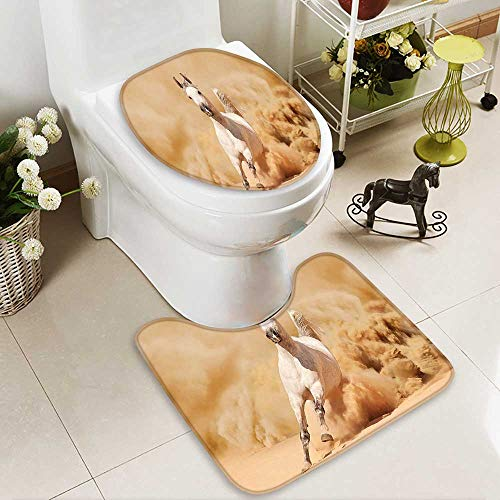 SOCOMIMI 2 Piece Toilet mat Set Collection Arabian Horse Breed Running Out of The Desert Storm Sand High Tail 2 Piece Shower Mat Set by SOCOMIMI