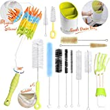 ZOEMO Food Grade Silicone Long Bottle Cleaning Brush, 15Pc Brush Set Bundled with Drainer Organizer, Includes Straw Brush|Nipple Cleaner|Narrow Neck Bottle Brush|Blind Duster|Pipe Cleaner