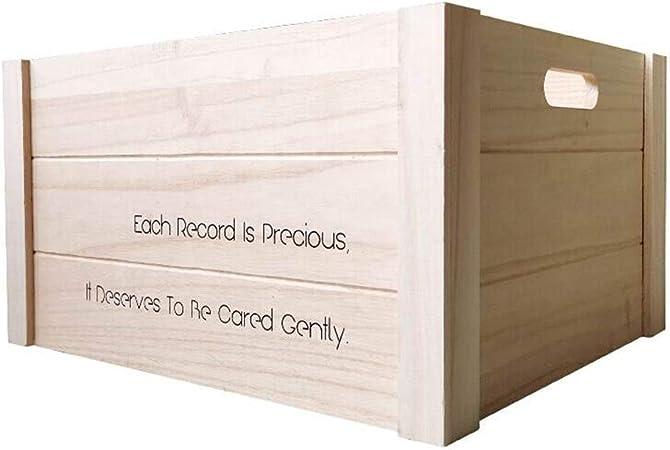 Caja de Almacenamiento de CD Almacenamiento de Registros de Almacenamiento apilable LP Vinilo Albumes Cubo Natural CD Contenedores de Almacenamiento Estanterías para CDs: Amazon.es: Hogar