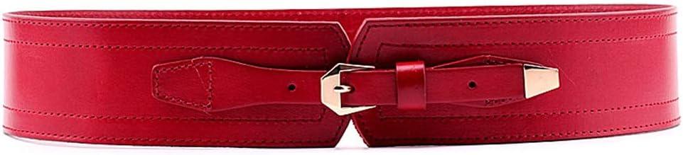 Lfives-ac Cinturon de Mujer Cinturón de Cuero para Mujer Ancho elástico Pin Hebilla Cinturón Vestido de Chaqueta Abajo Decoración para Pantalones Vaqueros Pantalones Cortos Vestido (Color : Rojo)